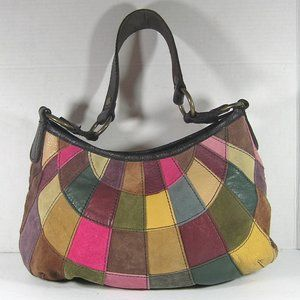 LUCKY BRAND Handbag Patchwork Suede And Leather